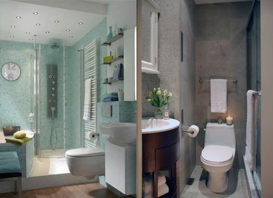 Варианты внутренней отделки ванной комнаты с душевой кабиной и биде.