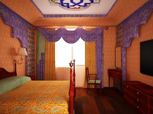 Интересный восточный стиль для штор - это особый подход к дизайну спальни