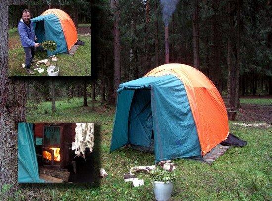 Как сделать в лесу палатку своими руками 138